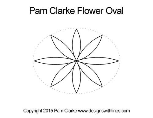 Pam clarke flower oval quilt design