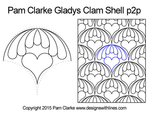 Pam clarke gladys clam shell p2p quilt pattern