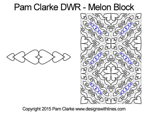 Pam clarke DWR melon quilting pattern for block