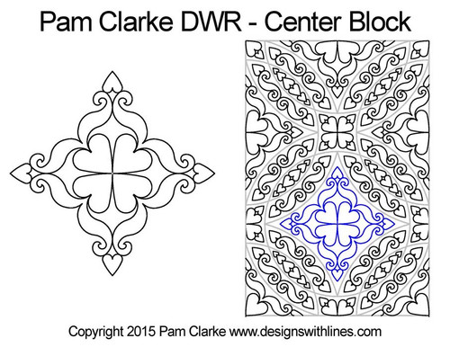 Pam clarke DWR center block quilting