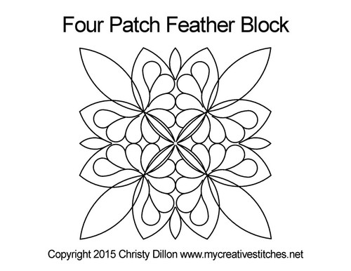 Fluttering feather square block quilt pattern