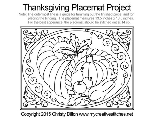 Thanksgiving placemat free quilting project