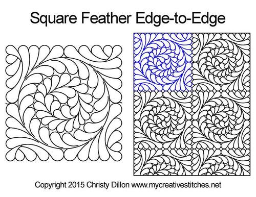 Square feather edge to edge designs