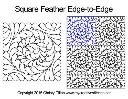 Square feather edge to edge designs