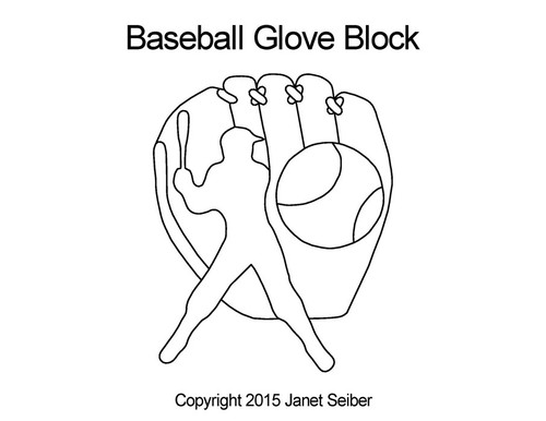 Baseball glove quilting designs for block