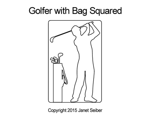 Golfer with Bag squared quilt pattern