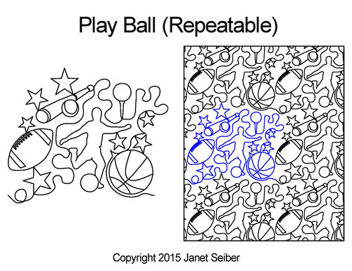 Play ball repeatable quilting designs