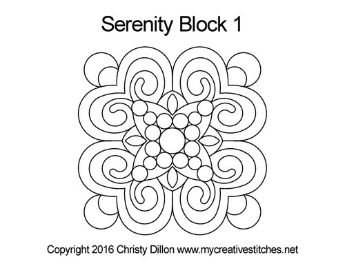 Serenity quilting pattern for block 1