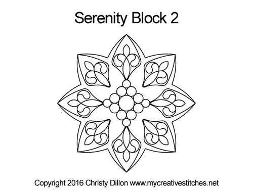 Serenity digital quilting pattern for block 2