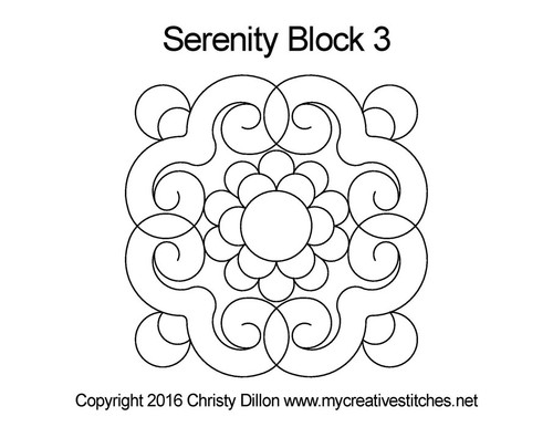 Serenity quilting pattern for block 3
