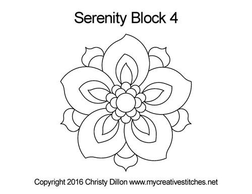 Serenity digital quilting pattern for block 4