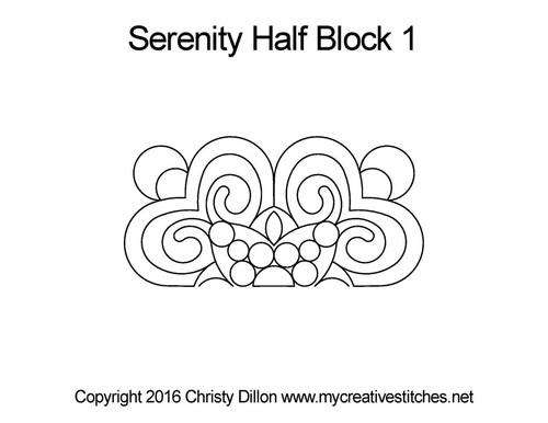 Serenity digital half block 1 quilting design