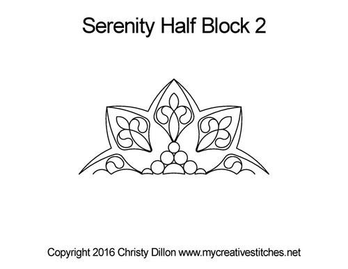 Serenity digital half block 2 quilting design