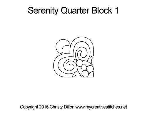 Serenity quarter block 1 quilting pattern