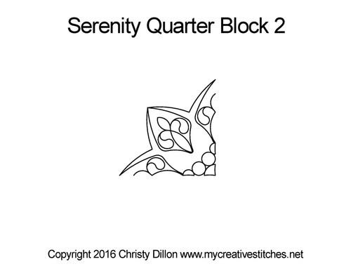 Serenity quarter block 2 quilting pattern