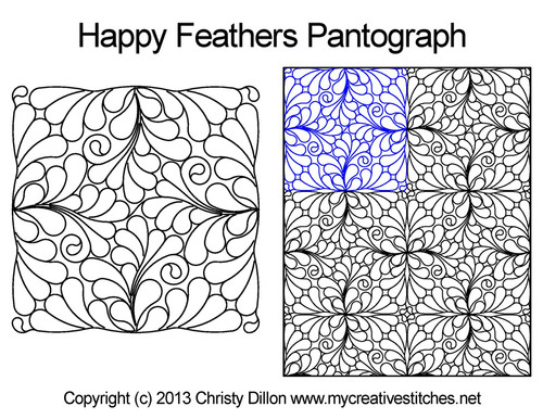 Happy feathers long arm quilting pantographs