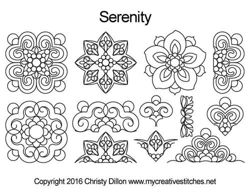 Serenity free digital quilting designs set