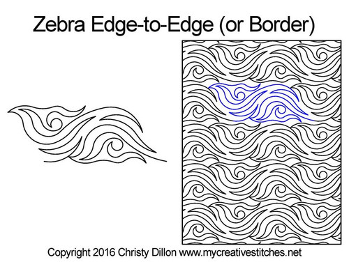 Zebra edge to edge digital quilting patterns or border