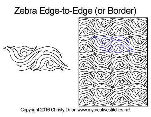 Zebra edge to edge digital quilting patterns or border