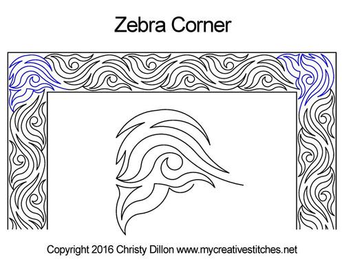 Zebra computerized corner quilt pattern