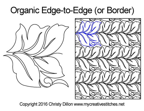 Organic edge to edge digital quilt pattern