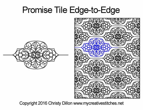 Promise tile edge to edge digital quilt pattern