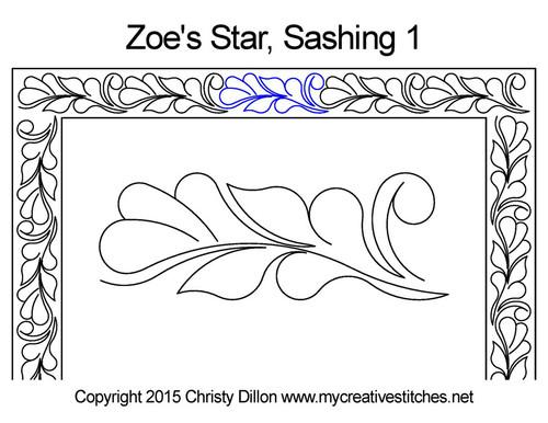 Zoe's star sashing 1 quilting pattern