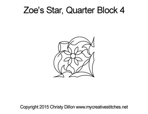 Zoe's star quarter block 4 quilt pattern