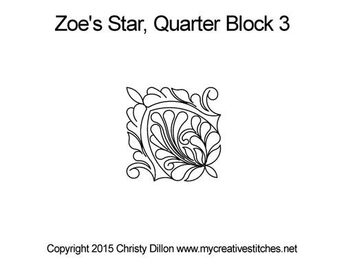Zoe's star quarter block 3 quilt pattern
