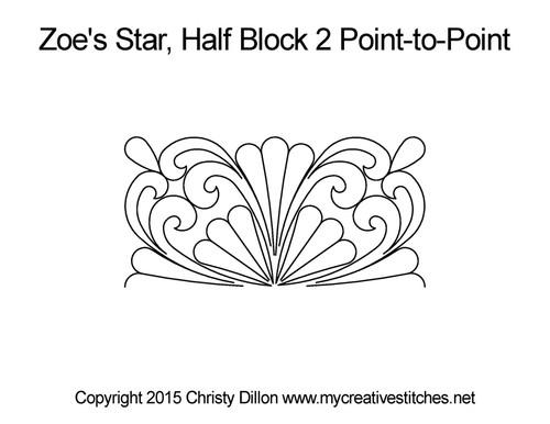 Zoe's star half block 2 p2p quilting design