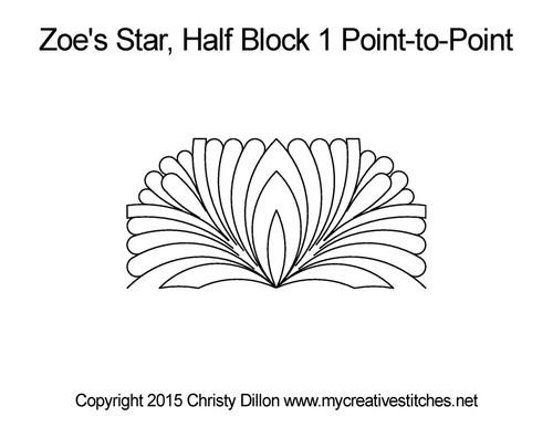 Zoe's star half block 1 p2p quilting design