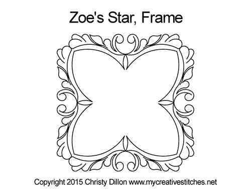 Zoe's star digitized frame quilt design