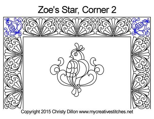 Zoe's star computerized corner 2 quilt design