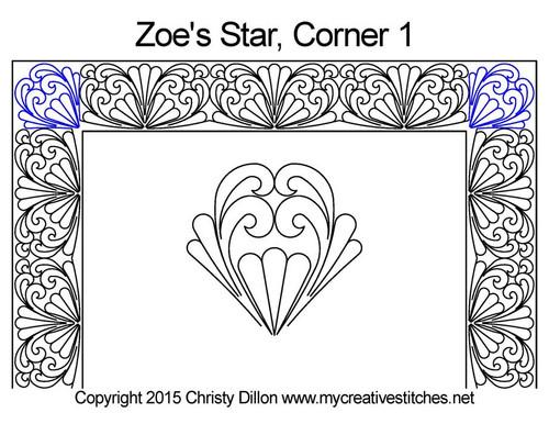Zoe's star computerized corner 1 quilt design
