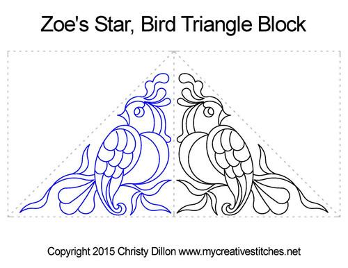 Zoe's star bird triangle block quilting