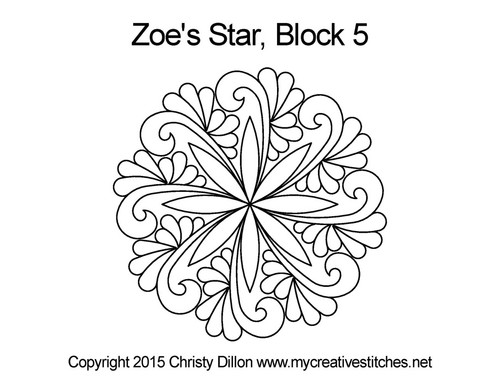 Zoe's star quilting pattern for block 5