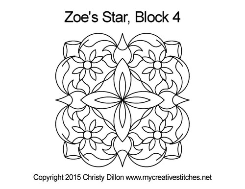 Zoe's star block 4 quilting pattern
