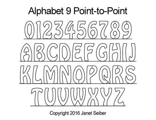 Computerized alphabet 9 p2p quilting pattern