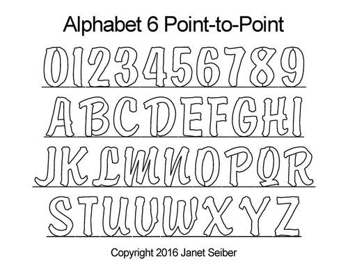 Computerized alphabet 6 p2p quilting pattern