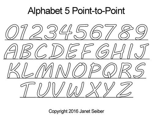Digital alphabet 5 p2p quilting design
