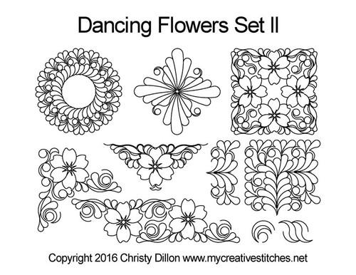 Dancing flowers computerized quilt pattern set