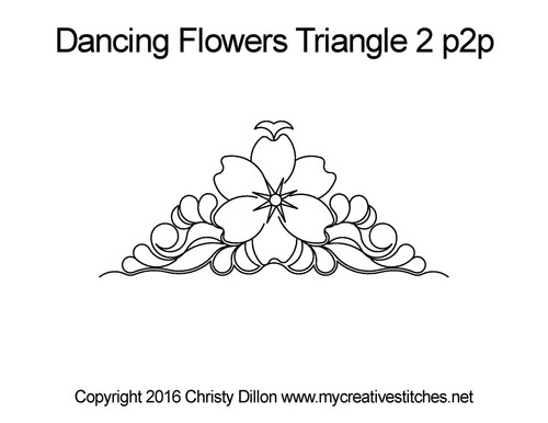 Dancing Flowers triangle 2 p2p quilt design
