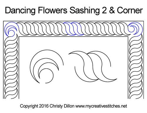 Dancing flowers sashing & corner quilt pattern