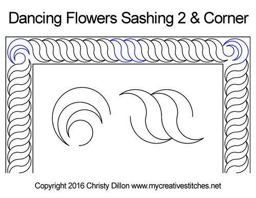 Dancing flowers sashing & corner quilt pattern