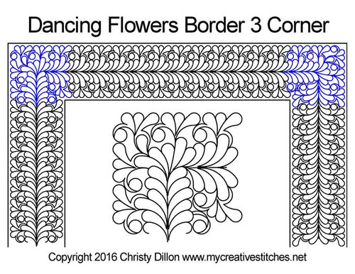 Dancing flowers border 3 corner quilt design