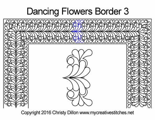 Dancing flowers border 3 quilting design