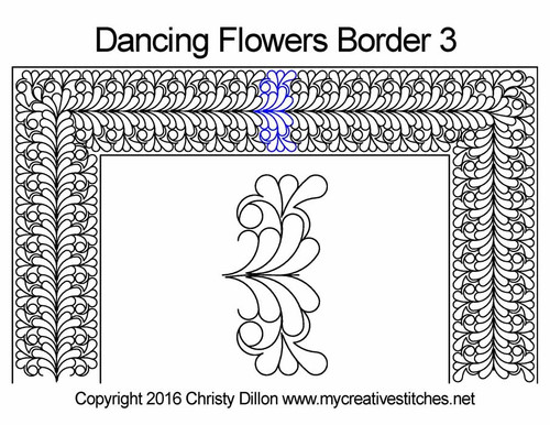 Dancing flowers border 3 quilting design