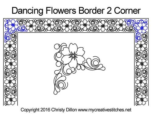 Dancing Flowers quilt design for border & corner