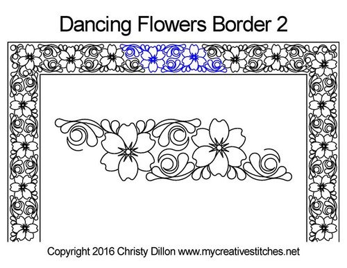 Dancing Flower quilting pattern for border 2