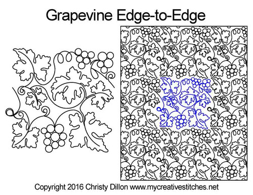 Grapevine edge-to-edge quilt designs